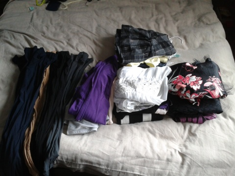 The whole pile (including so many pairs of tights)